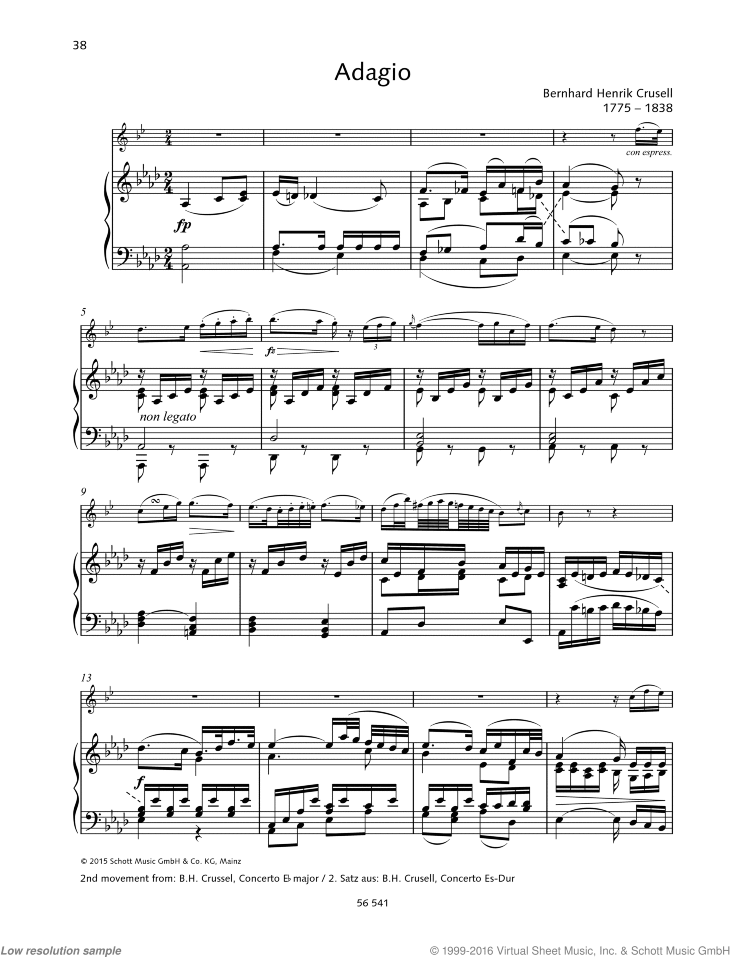 Adagio sheet music for clarinet and piano by Bernhard Henrik Crusell, classical score, easy/intermediate skill level