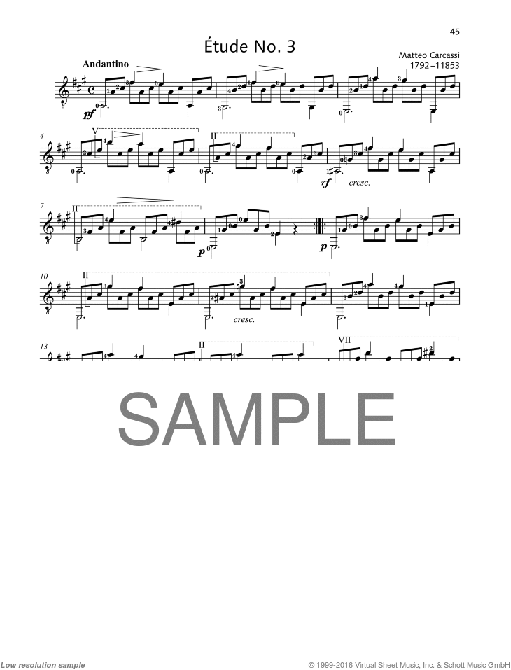 Etude No. 3 sheet music for guitar solo by Matteo Carcassi, classical score, easy/intermediate skill level