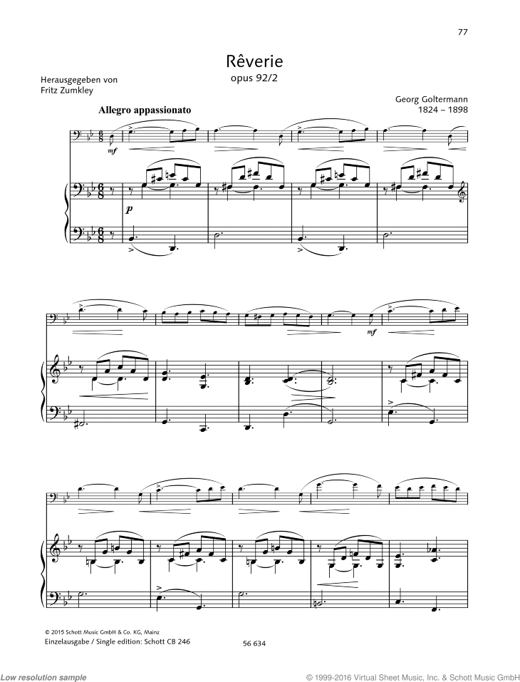 Reverie sheet music for cello and piano by Georg Goltermann, classical score, advanced skill level