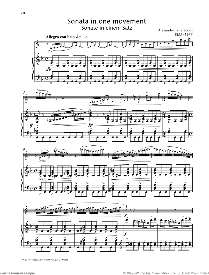 Sonata in one movement sheet music for clarinet and piano by Alexander Tcherepnin, classical score, advanced skill level