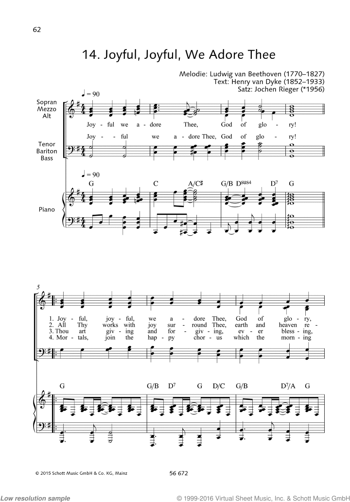 Joyful sheet music for choir (SATB) and piano by Ludwig van Beethoven, classical score, easy/intermediate skill level
