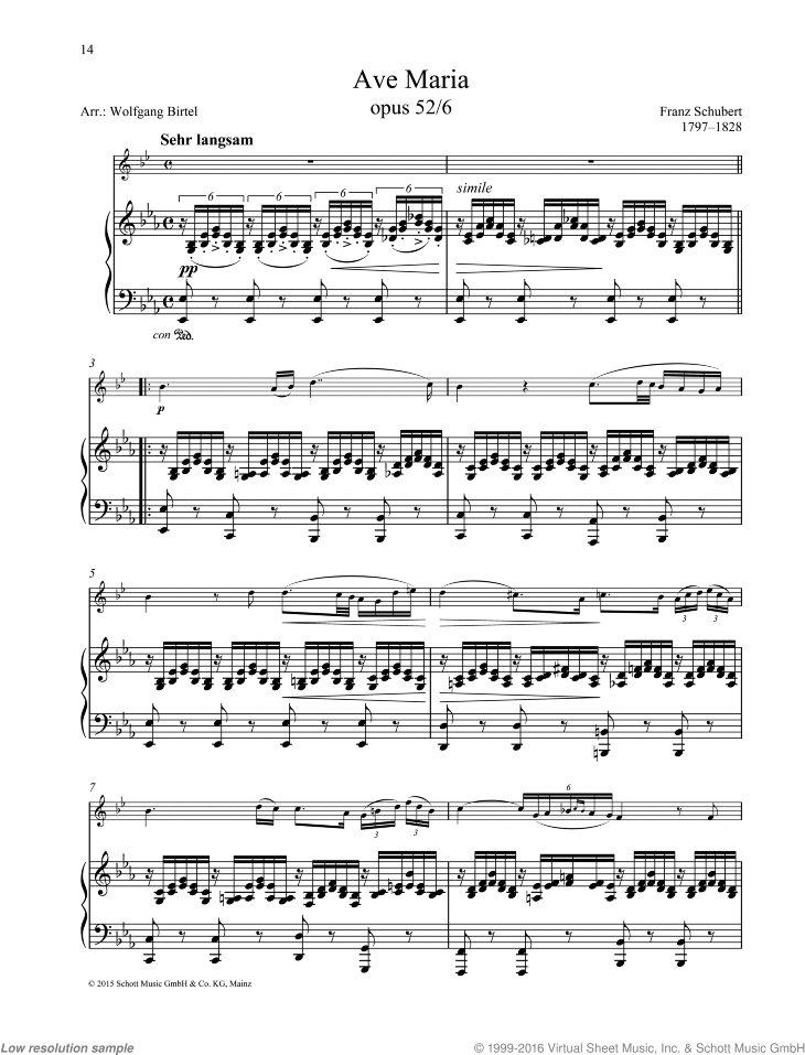 Ave Maria sheet music for horn and piano by Franz Schubert, classical score, easy/intermediate skill level