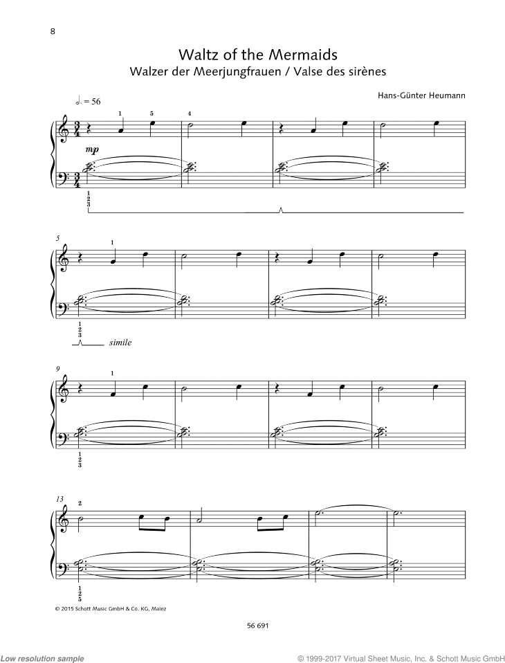 Waltz of the Mermaids sheet music for piano solo by Hans-Gunter Heumann, easy skill level