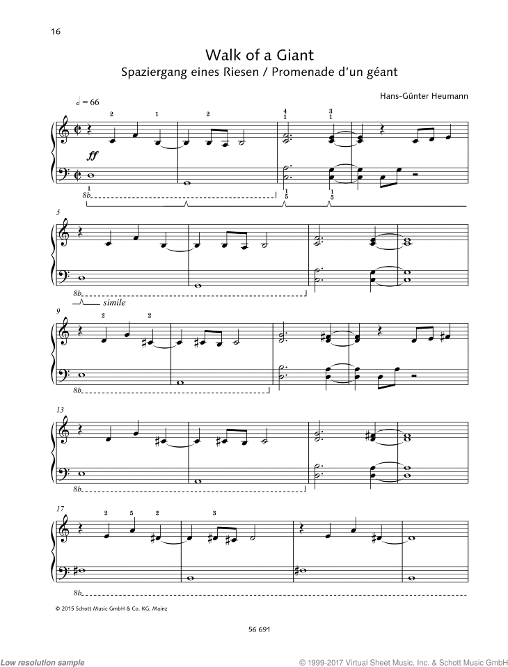 Walk of a Giant sheet music for piano solo by Hans-Gunter Heumann, easy skill level