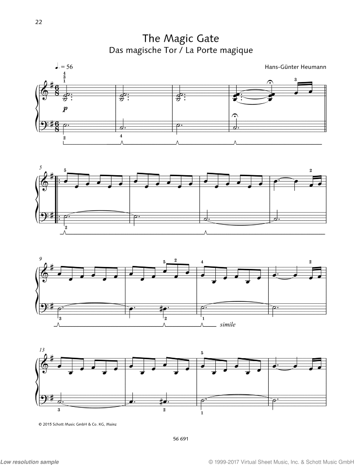 The Magic Gate sheet music for piano solo by Hans-Gunter Heumann, easy skill level