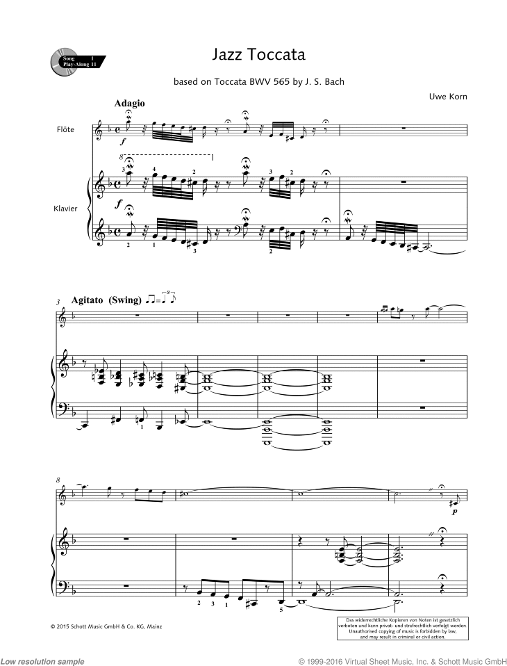 Jazz Toccata sheet music for flute and piano by Uwe Korn, easy/intermediate skill level