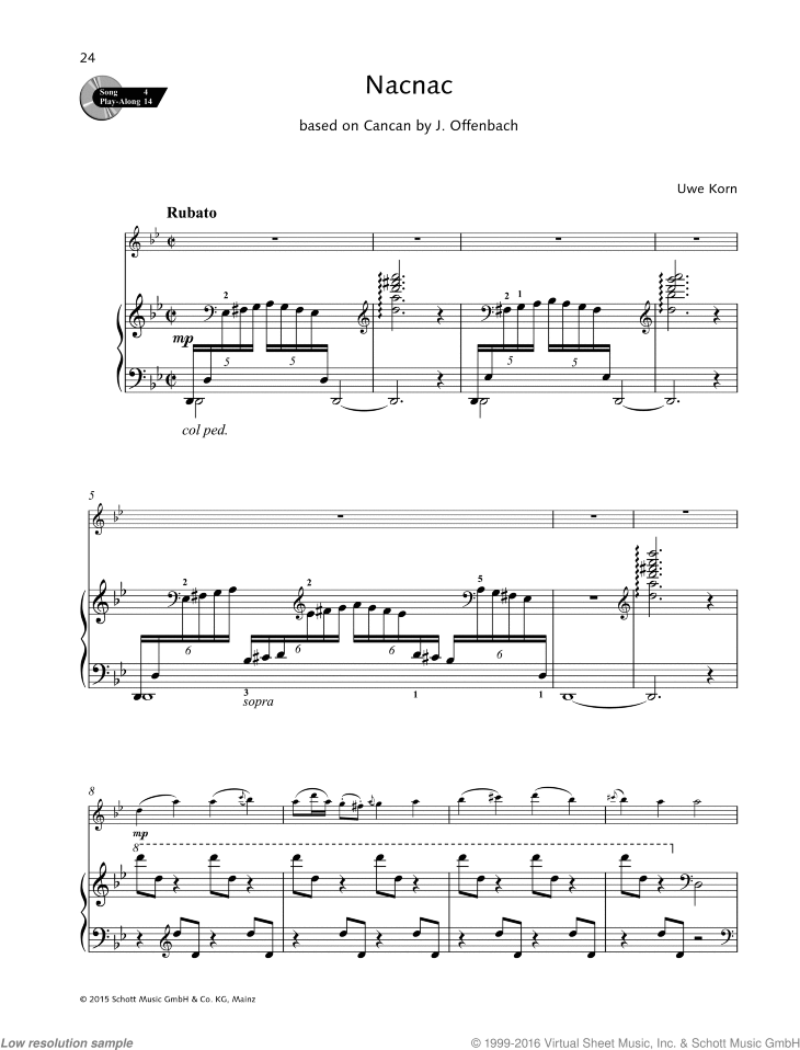 Nacnac sheet music for flute and piano by Uwe Korn, easy/intermediate skill level