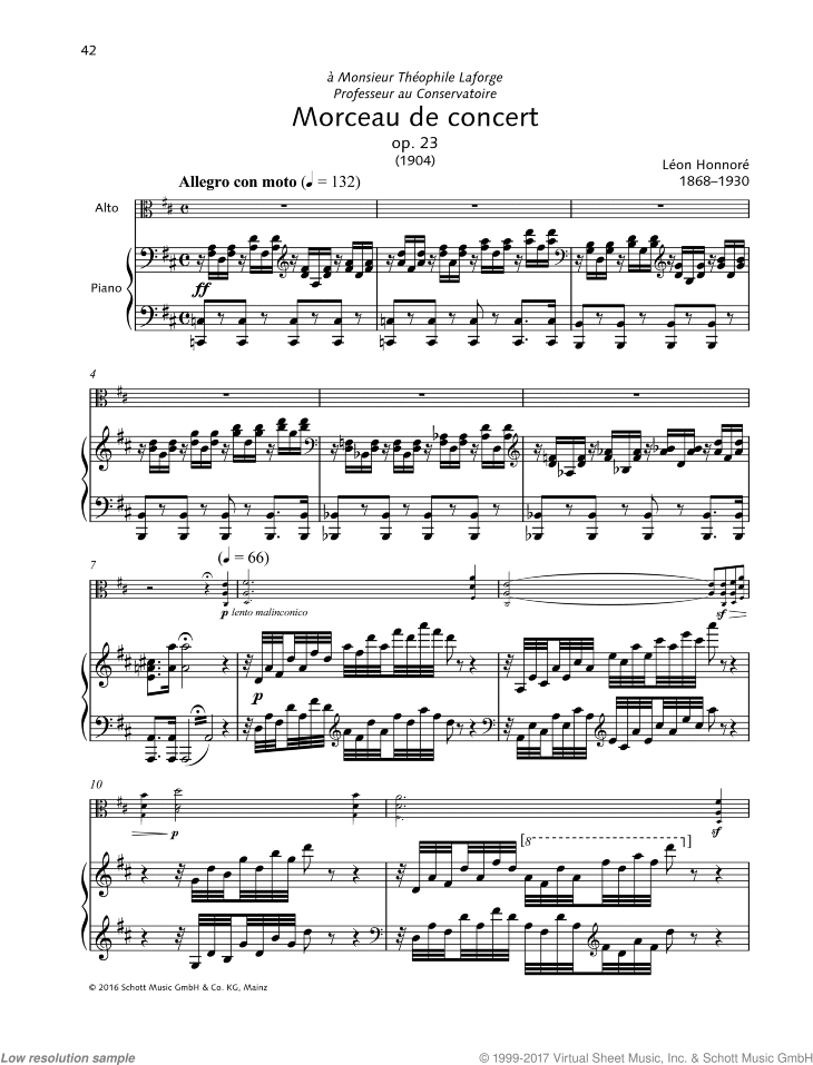 Morceau de concert sheet music for viola and piano by Leon Honnore, classical score, intermediate/advanced skill level