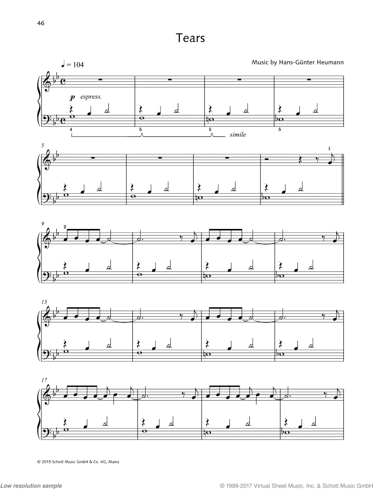 Tears sheet music for piano solo by Hans-Gunter Heumann, easy/intermediate skill level