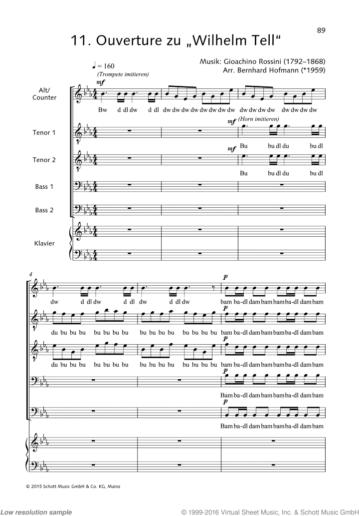 Ouverture zu Wilhelm Tell sheet music for choir and piano by Gioacchino Rossini, classical score, easy/intermediate skill level