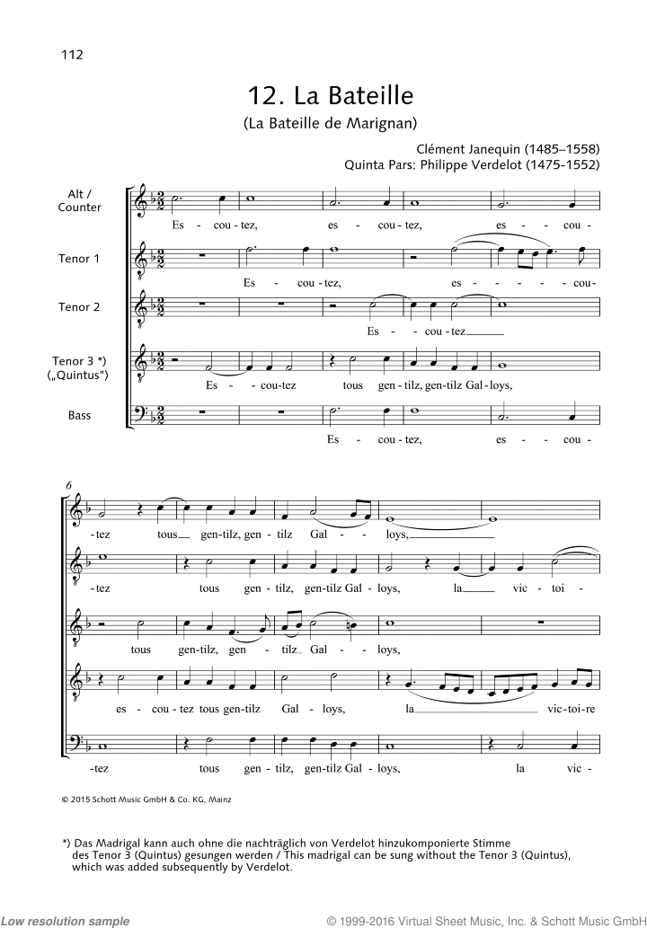 La Bateille de Marignan sheet music for male choir (ATTTB) by Clement Janequin, classical score, easy/intermediate skill level