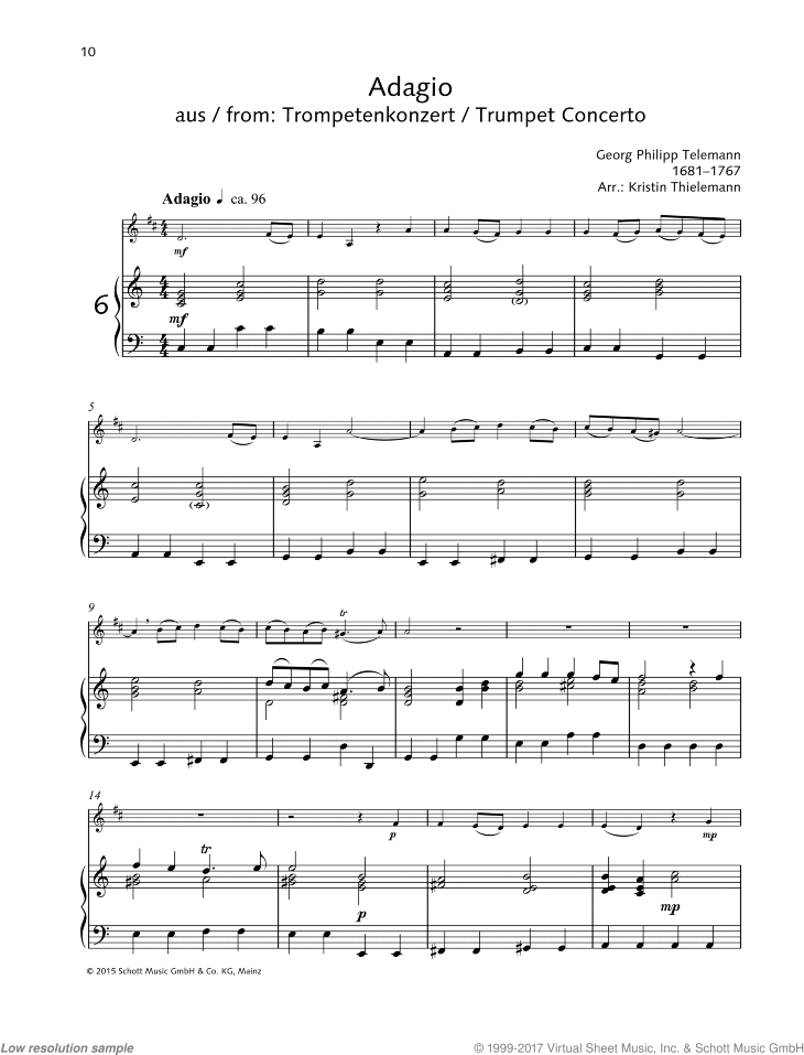 Adagio sheet music for trumpet and piano by Georg Philipp Telemann, classical score, easy skill level