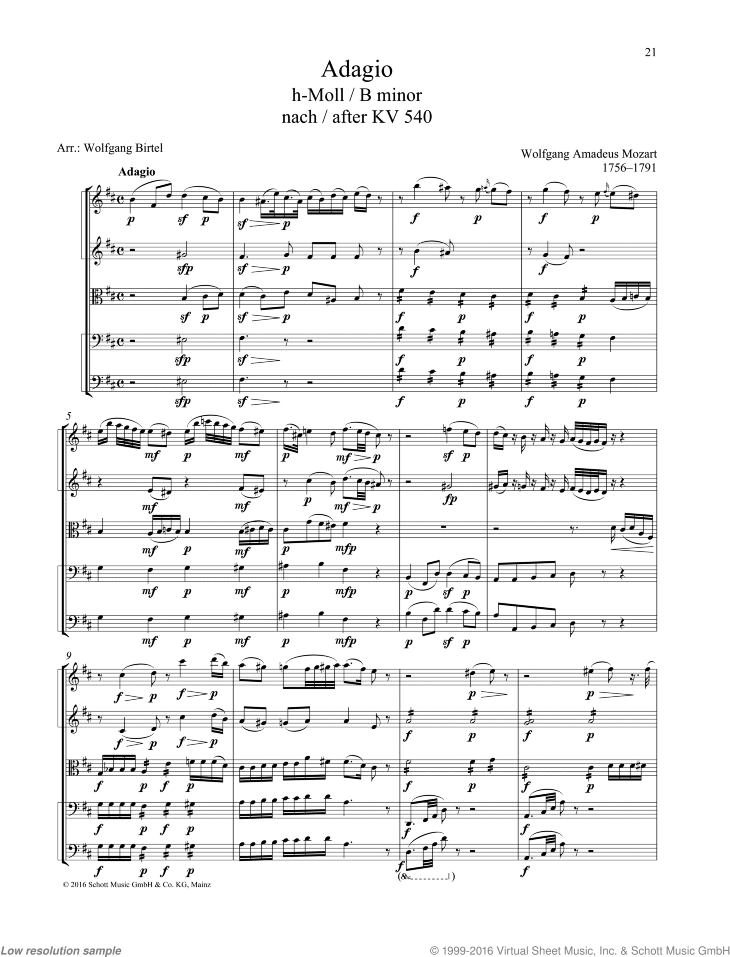 Adagio in B minor sheet music for string quartet by Wolfgang Amadeus Mozart, classical score, easy/intermediate skill level
