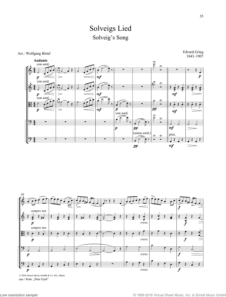 Solveig's Song sheet music for string quartet by Edward Grieg, classical score, easy/intermediate skill level