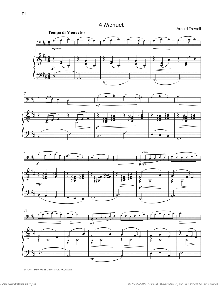 Score and Part Four Pieces for Cello and Piano
