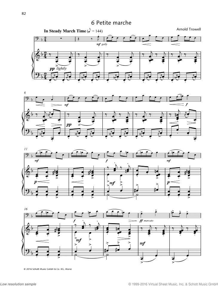 Petite marche sheet music for cello and piano by Arnold Trowell, classical score, easy/intermediate skill level