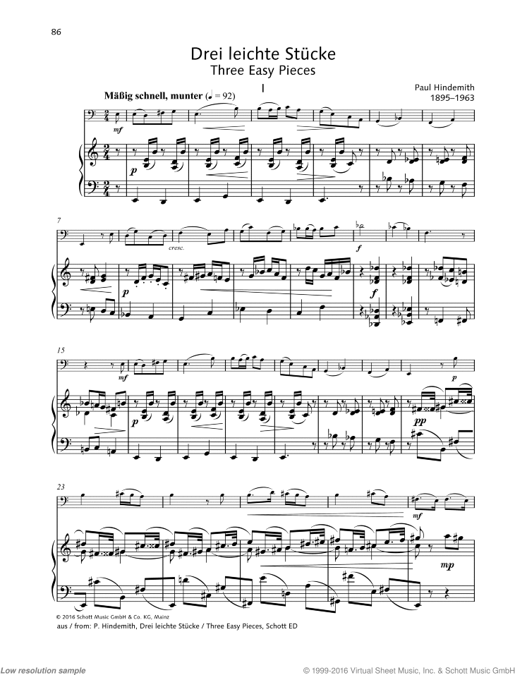 Three Easy Pieces sheet music for cello and piano by Paul Hindemith, classical score, easy/intermediate skill level