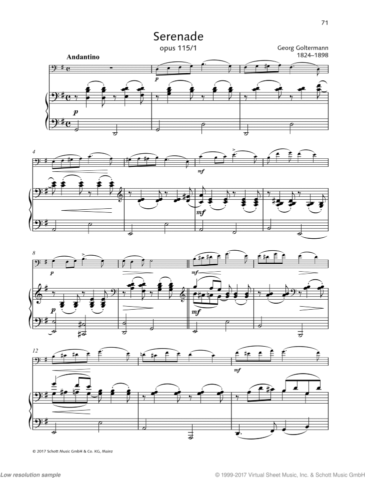 Serenade sheet music for cello and piano by Georg Goltermann, classical score, easy/intermediate skill level