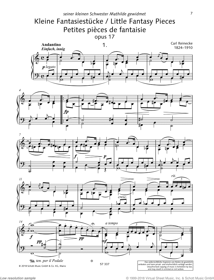 Little Fantasy Pieces sheet music for piano solo by Carl Heinrich Carsten Reinecke, classical score, intermediate/advanced skill level