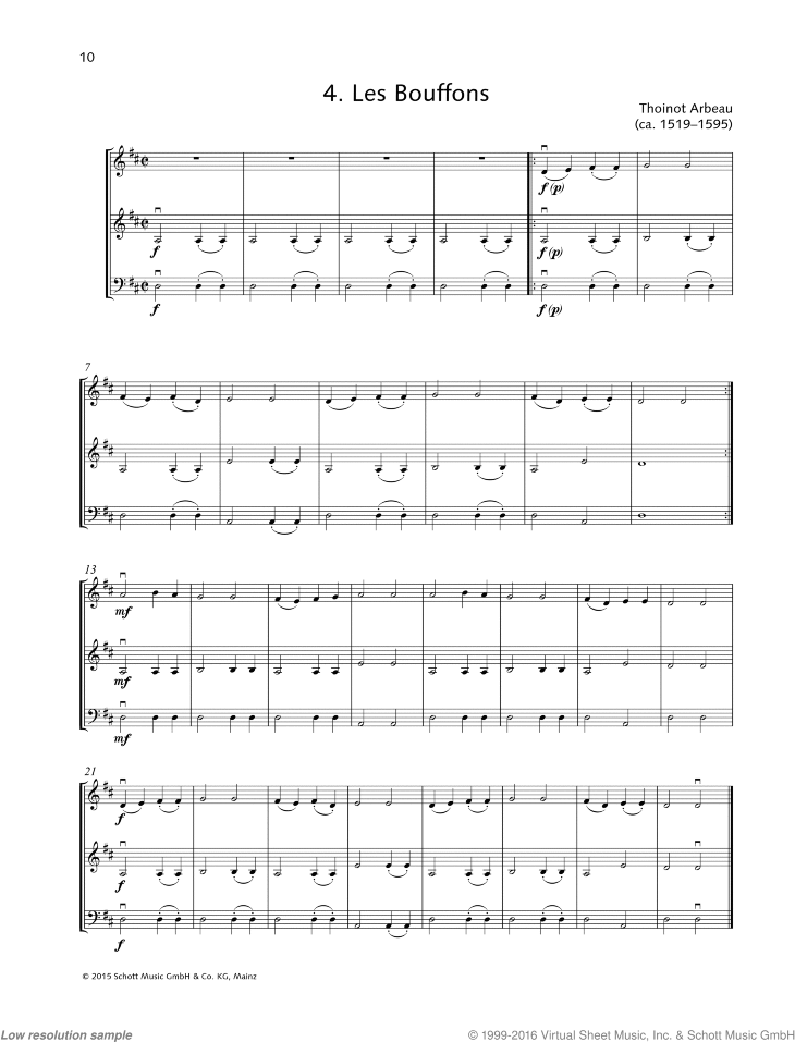 Les Bouffons sheet music for string trio by Thoinot Arbeau, classical score, beginner skill level