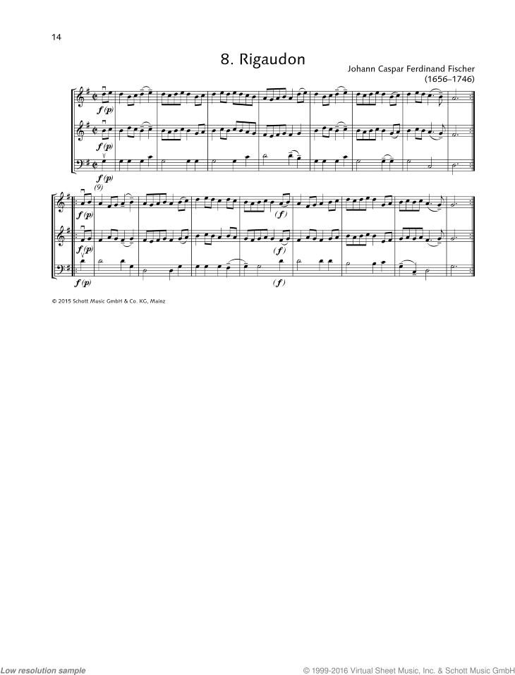 Rigaudon sheet music for string trio by Johann Caspar Ferdinand Fischer, classical score, beginner skill level