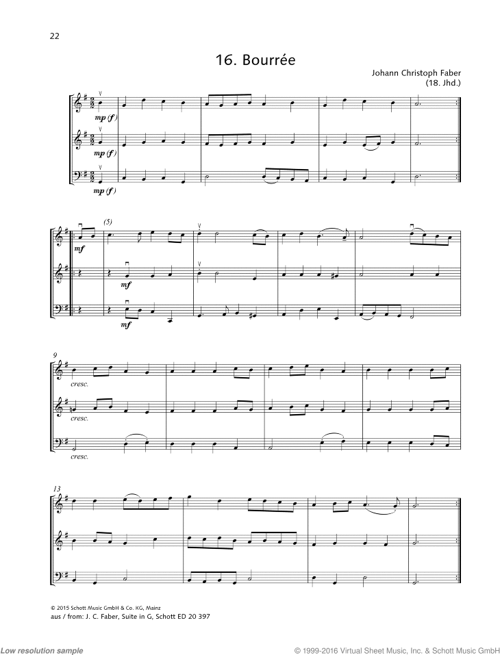 Bourree sheet music for string trio by Johann Christoph Faber, classical score, beginner skill level