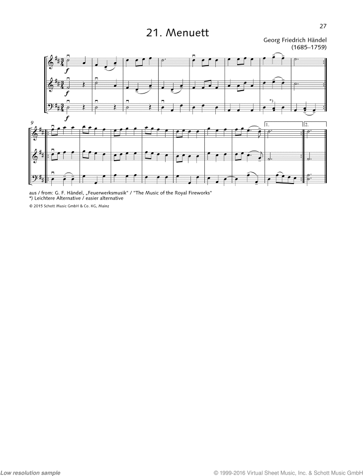 Minuet sheet music for string trio by George Frideric Handel, classical score, beginner skill level