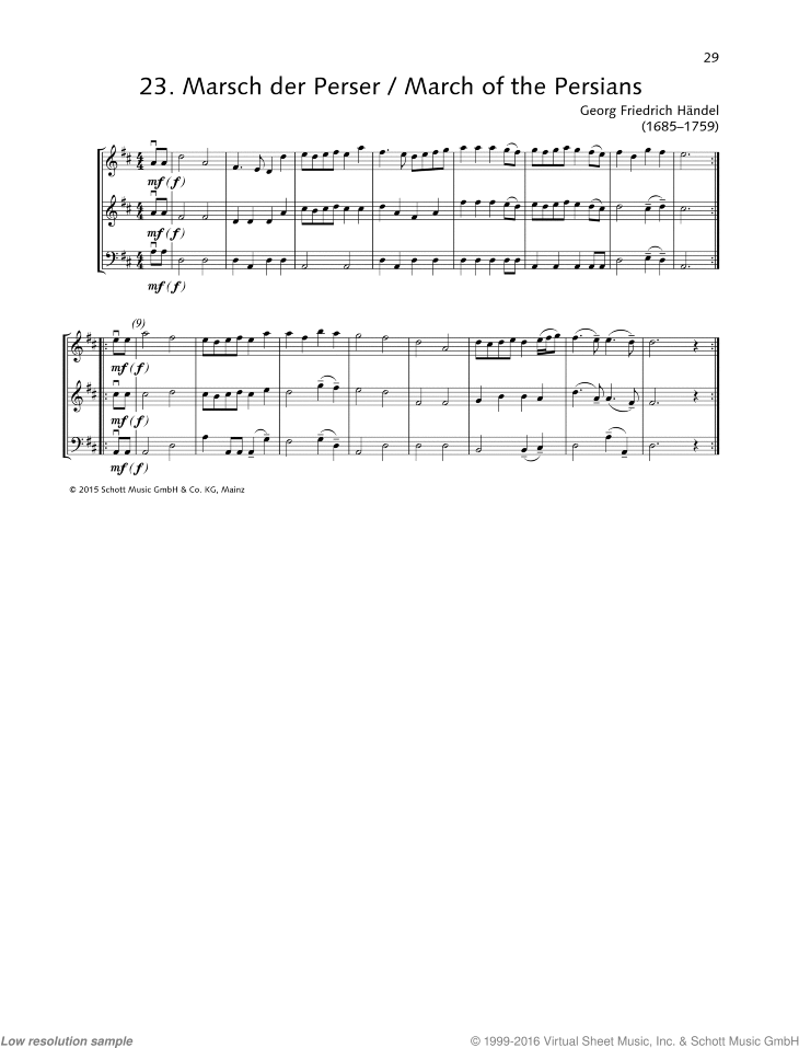 March of the Persians sheet music for string trio by George Frideric Handel, classical score, beginner skill level