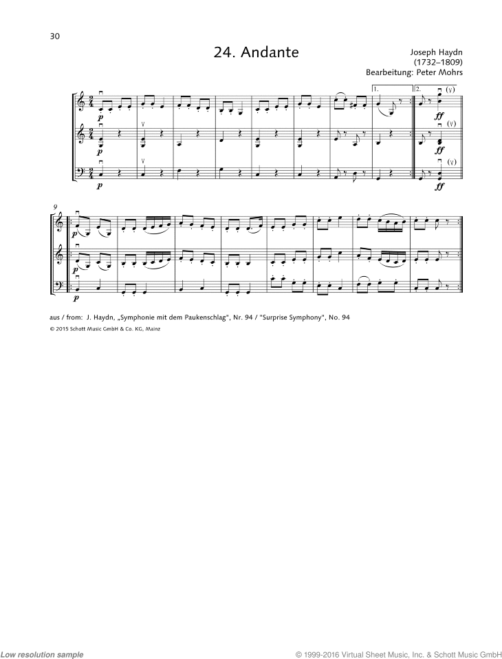 Andante sheet music for string trio by Franz Joseph Haydn, classical score, beginner skill level