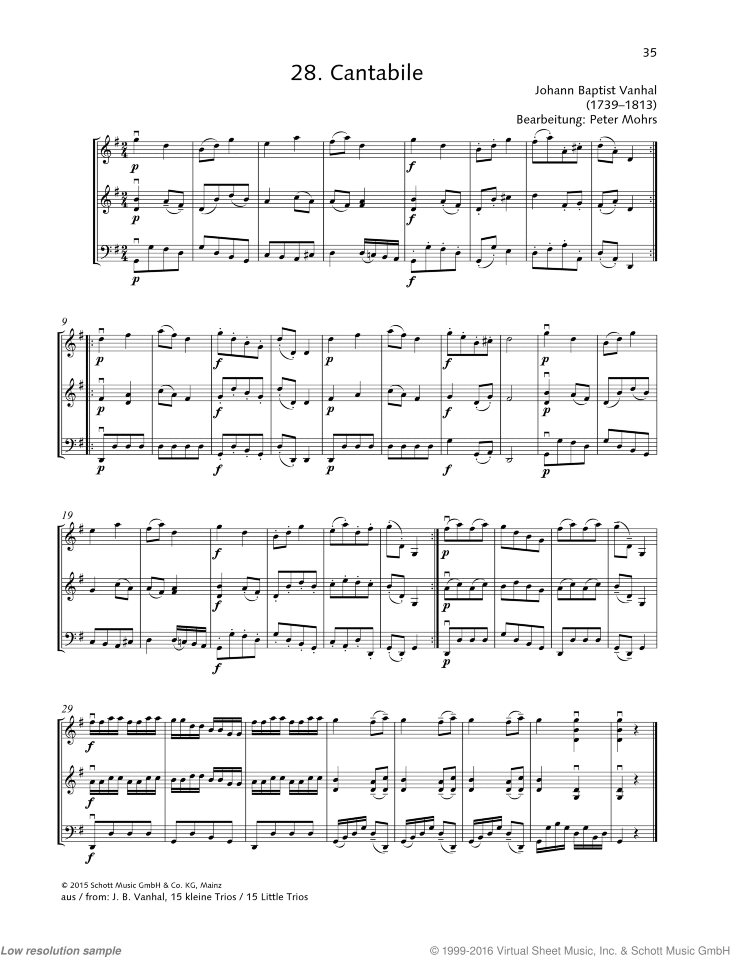 Cantabile sheet music for string trio by Johann Baptist Vanhal, classical score, beginner skill level