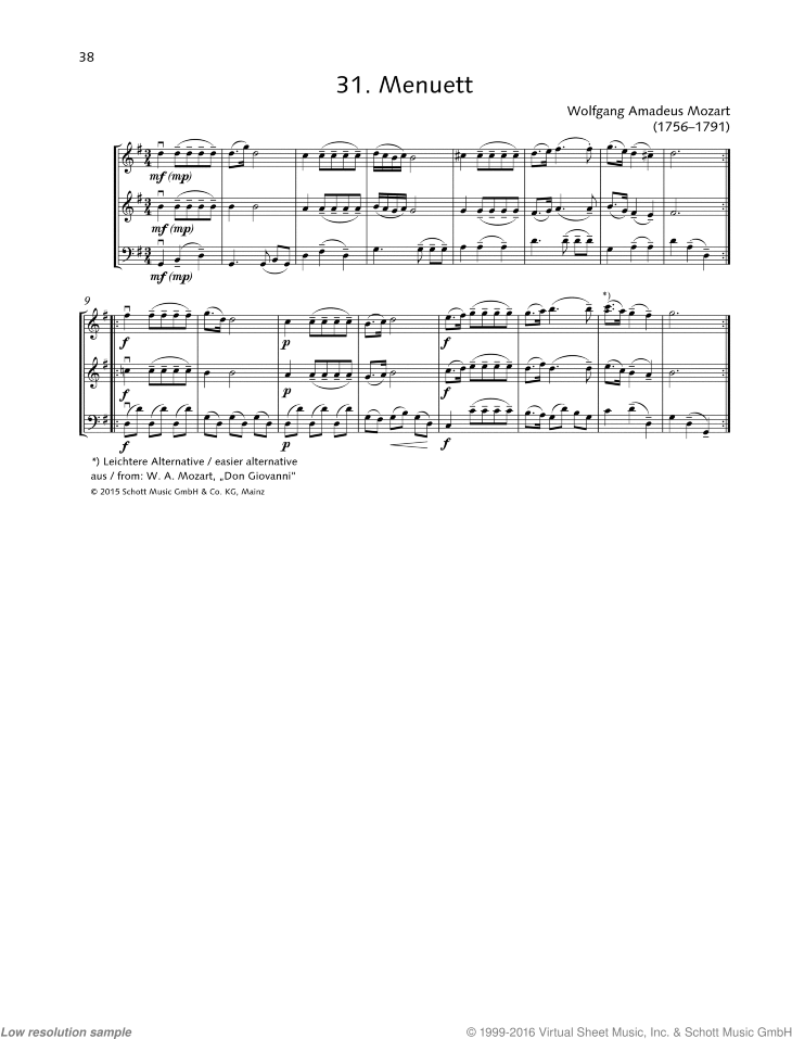 Minuet sheet music for string trio by Wolfgang Amadeus Mozart, classical score, beginner skill level