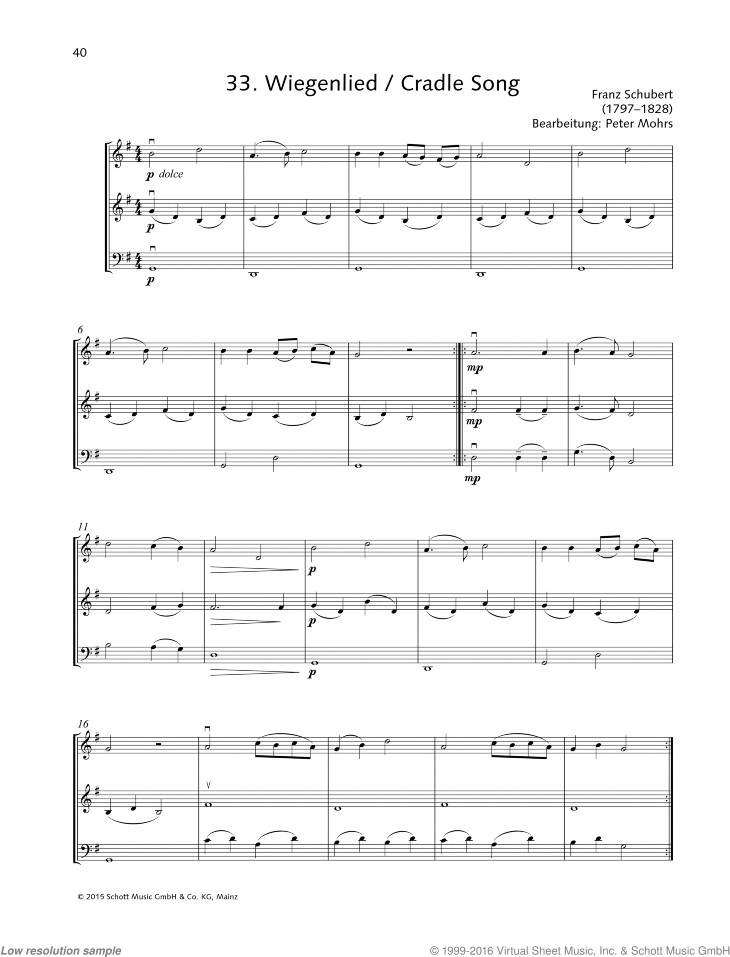Cradle Song sheet music for string trio by Franz Schubert, classical score, beginner skill level