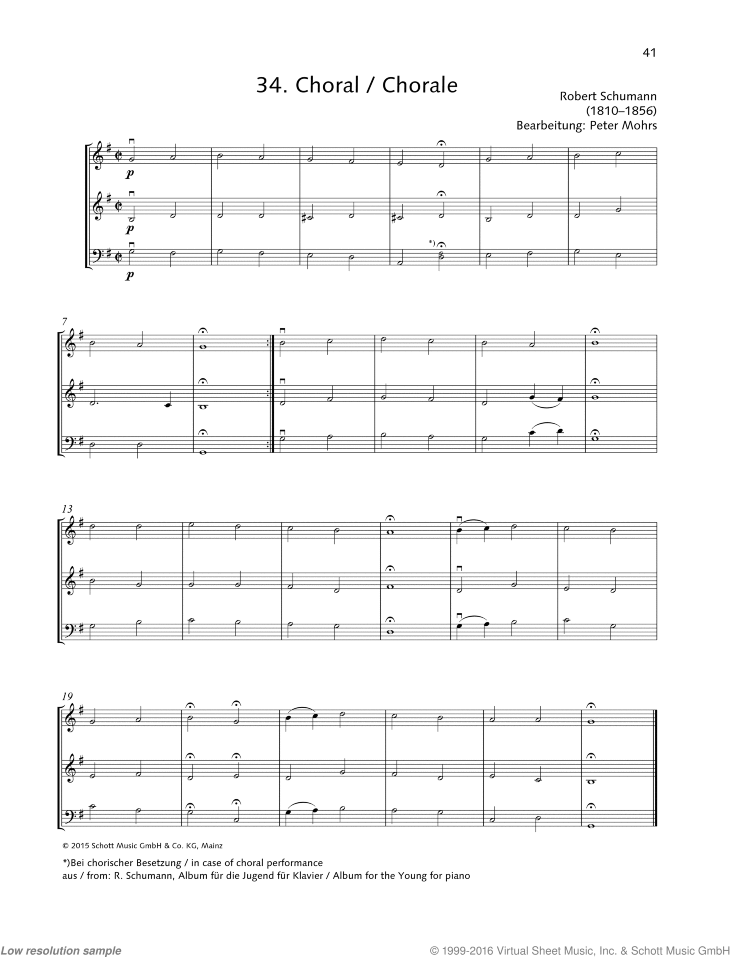 Chorale sheet music for string trio by Robert Schumann, classical score, beginner skill level