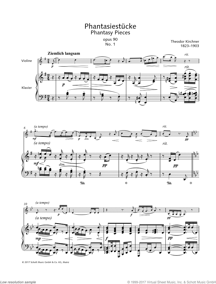 Phantasy Piece in G major sheet music for violin and piano by Theodor Kirchner, classical score, easy/intermediate skill level