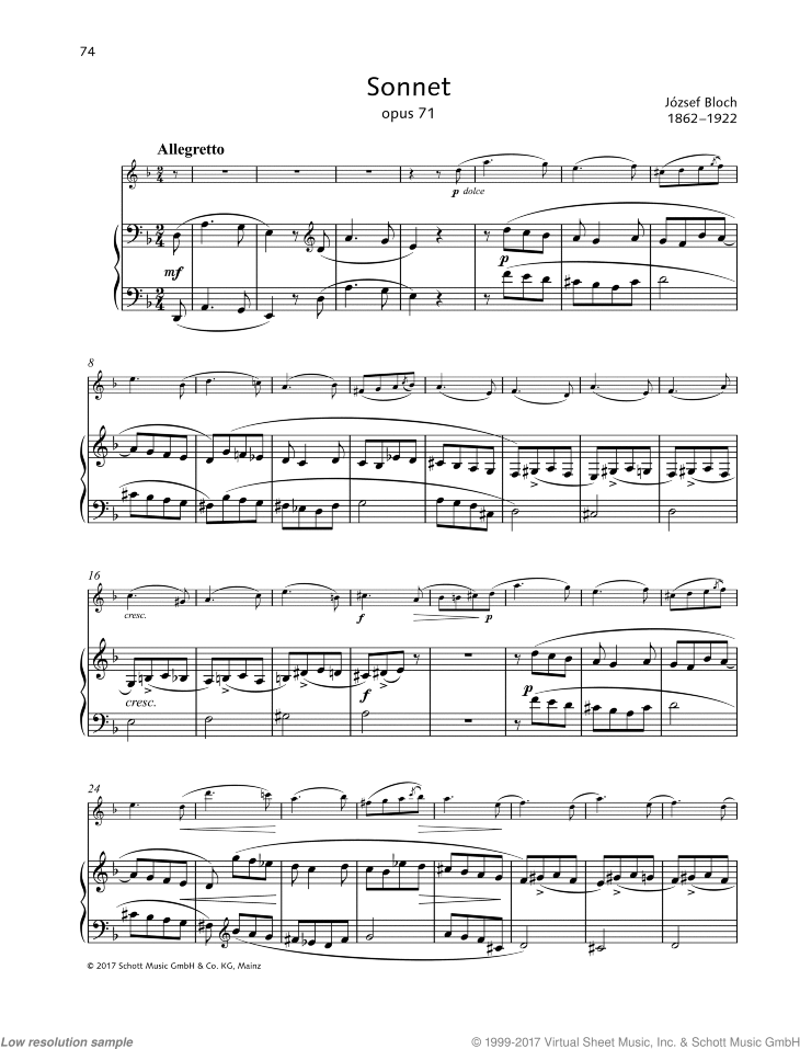 Sonnet in D minor sheet music for violin and piano by Jozsef Bloch, classical score, easy/intermediate skill level