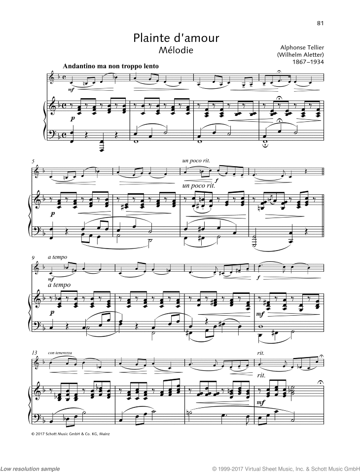 Plainte d'amour sheet music for violin and piano by Wilhelm Aletter, classical score, easy/intermediate skill level