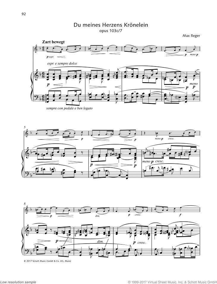 Du meines Herzens Kronelein sheet music for violin and piano by Max Reger, classical score, easy/intermediate skill level