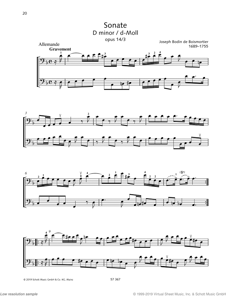 Sonata in D minor sheet music for two cellos by Joseph Bodin De Boismortier, classical score, easy/intermediate skill level