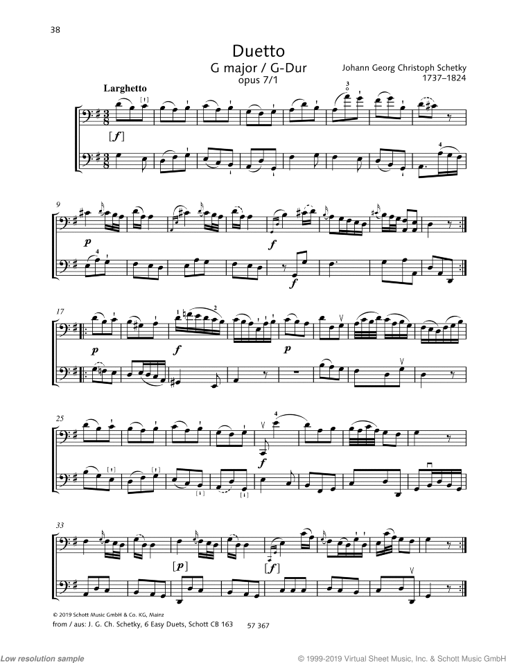 Duetto in G major sheet music for two cellos by Johann Georg Christoph Schetky, classical score, easy/intermediate skill level