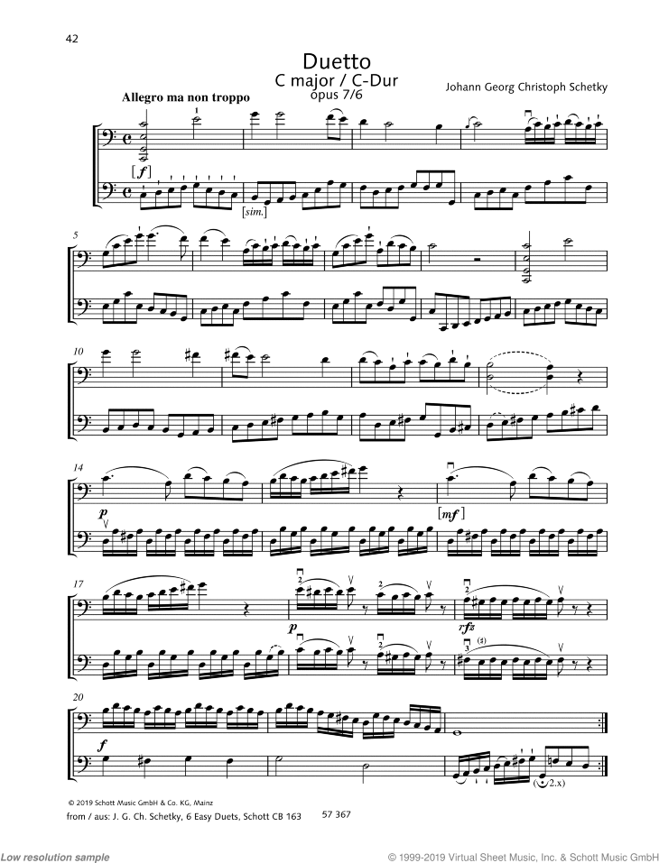 Duetto in C major sheet music for two cellos by Johann Georg Christoph Schetky, classical score, easy/intermediate skill level