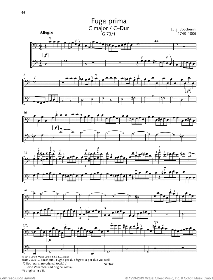 Fuga prima in C major sheet music for two cellos by Luigi Boccherini, classical score, easy/intermediate skill level