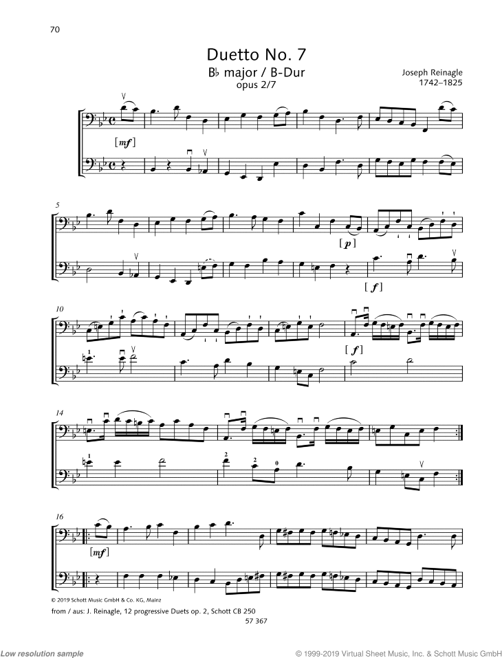 Duetto No. 7 Bb major sheet music for two cellos by Joseph Reinagle, classical score, easy/intermediate skill level