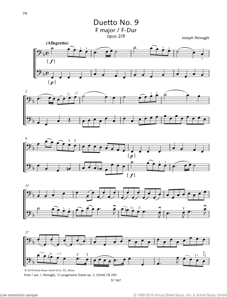 Duetto No. 9 in F major sheet music for two cellos by Joseph Reinagle, classical score, easy/intermediate skill level