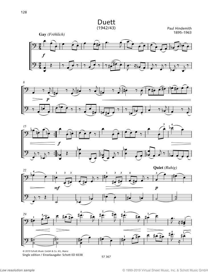 Duett sheet music for two cellos by Paul Hindemith, classical score, easy/intermediate skill level