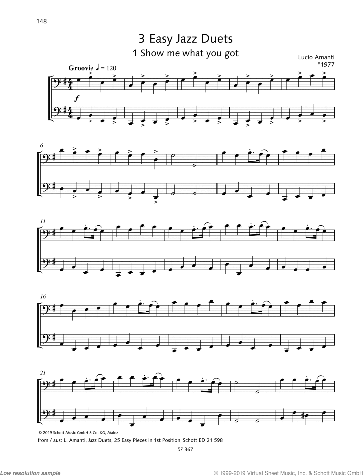 3 Easy Jazz Duets sheet music for two cellos by Lucio Franco Amanti, classical score, easy/intermediate skill level
