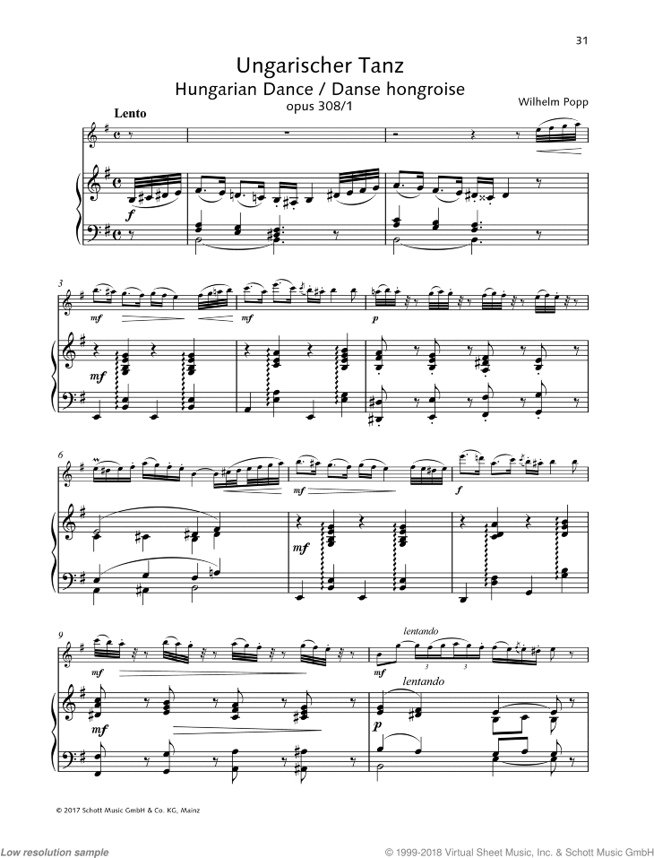 Hungarian Dance sheet music for flute and piano by Wilhelm Popp, classical score, easy/intermediate skill level