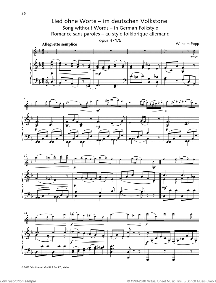 Popp - Song Without Words, in German Folk Style, Op  471, No  5 sheet music  for flute and piano