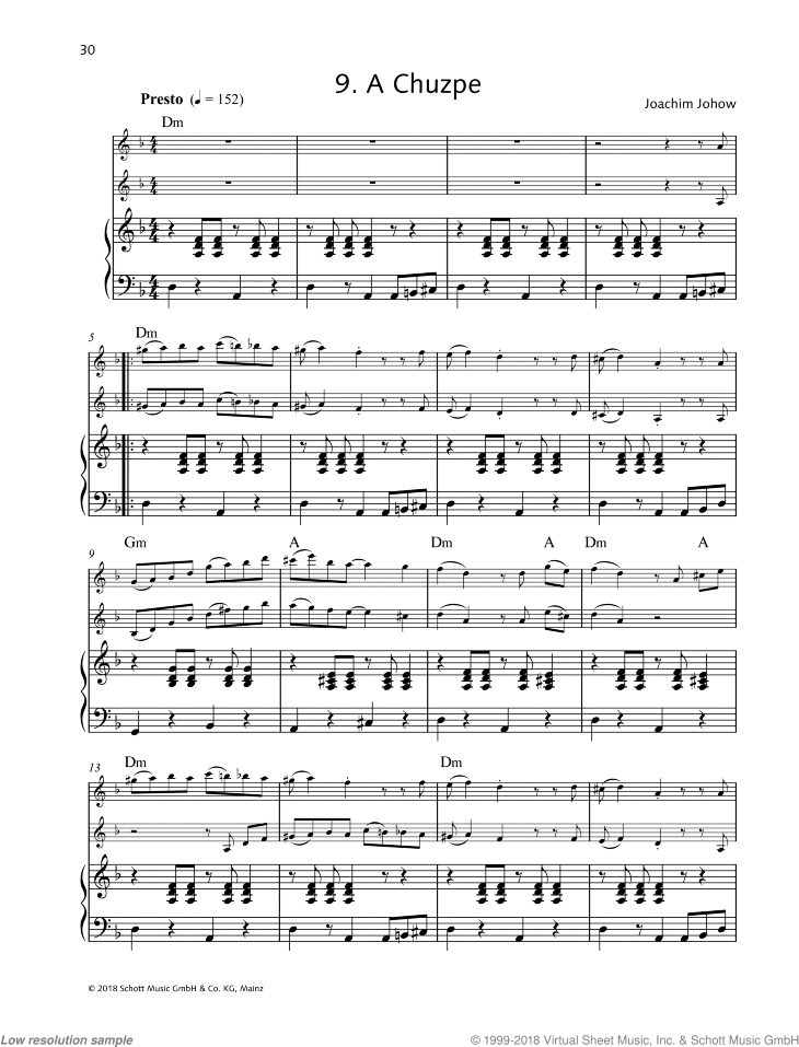 A Chuzpe sheet music for 1 or 2 violins and piano by Joachim Johow, easy/intermediate duet