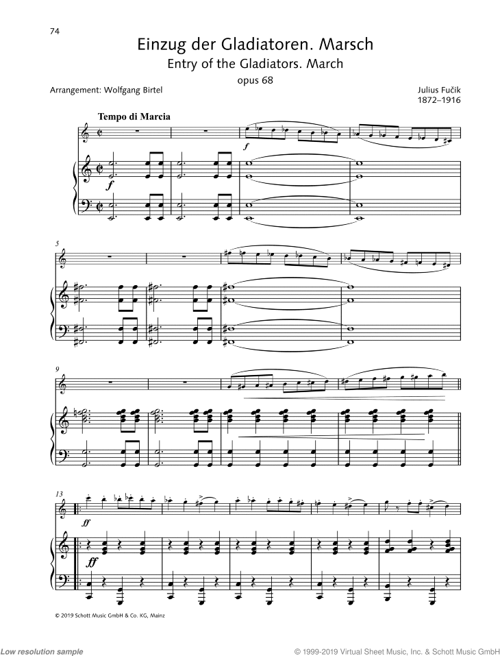 Entrance of the Gladiators sheet music for violin and piano by Julius Fucik, classical score, easy/intermediate skill level