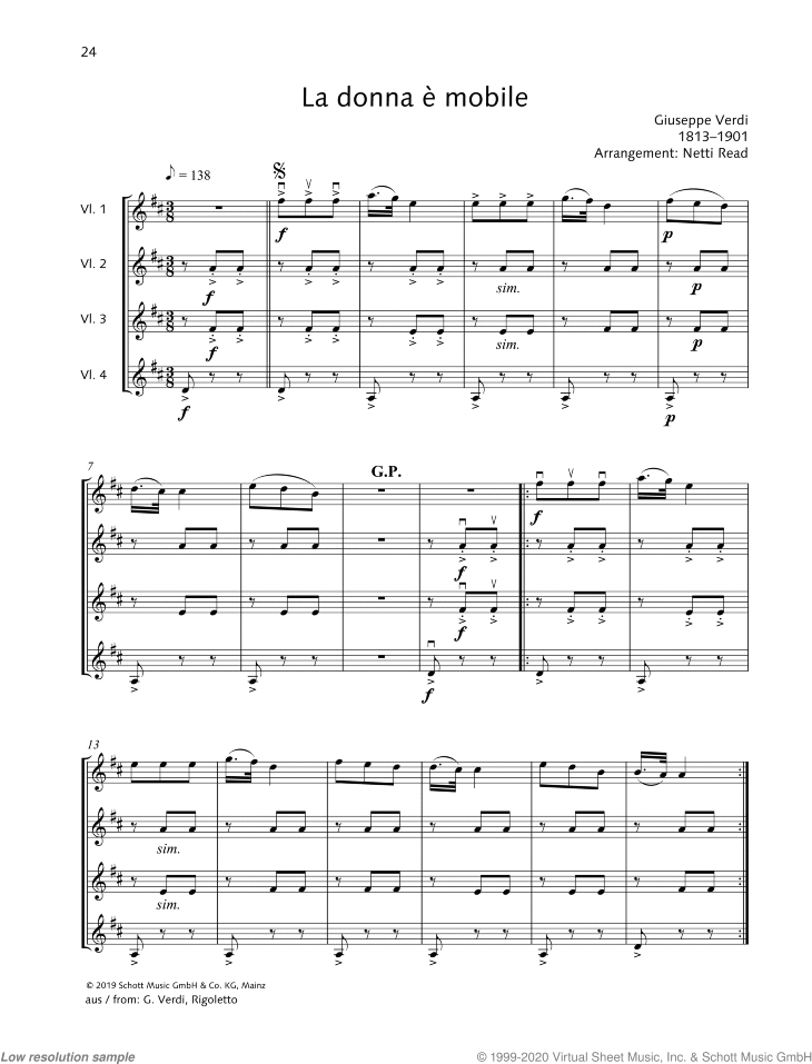 La donna e mobile sheet music for 3-4 violins by Giuseppe Verdi, classical score, easy skill level